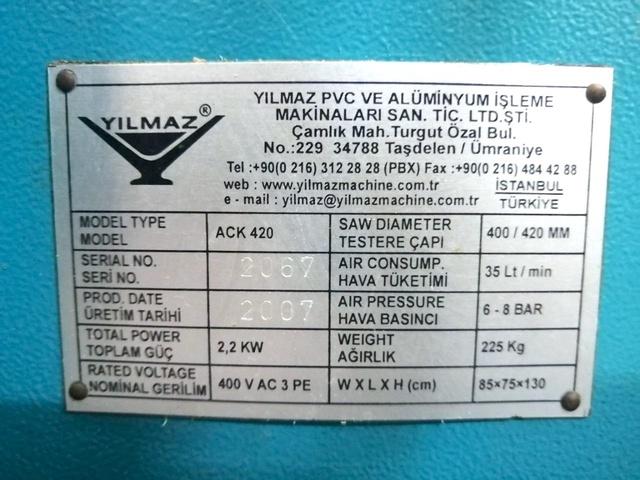 YILMAZ АСК 420 Одноголовочная пила с нижней подачей пильного диска для ПВХ и алюминиевого профиля (Б/У оборудование)